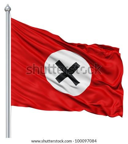 Realistic 3d flag of xxx fluttering in the wind. - stock photo