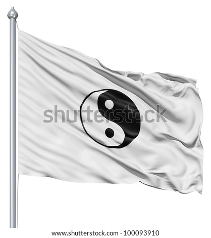 Realistic 3d flag of Yin Yang fluttering in the wind. - stock photo
