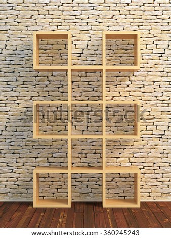 Realistic 3D illustration of wooden book shelf in front of stone brick wall