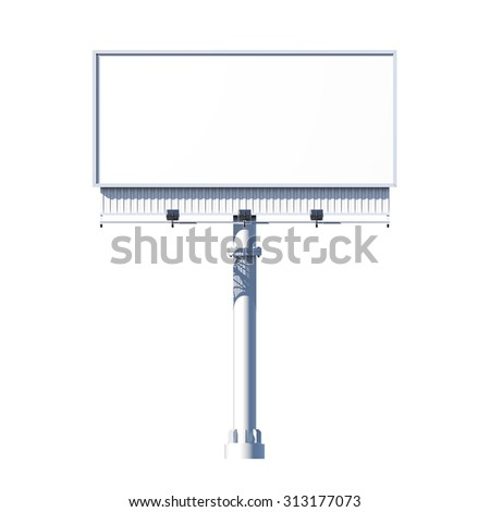 Realistic 3d outdoor blank advertising billboard isolated on white background  illustration