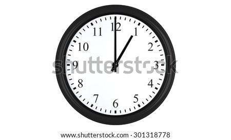Realistic 3D render of a wall clock set at 1 o'clock, isolated on a white background.