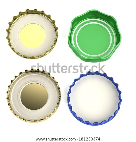 realistic 3d render of bottle lids