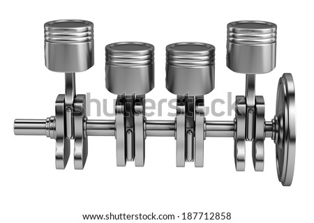 realistic 3d render of car engine - stock photo