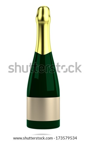 realistic 3d render of champagne bottle
