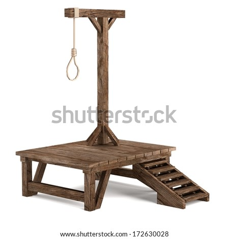 realistic 3d render of gallows - stock photo