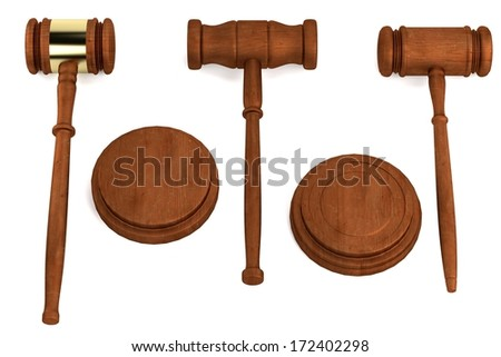 realistic 3d render of gavels - stock photo