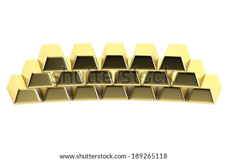 realistic 3d render of gold bars