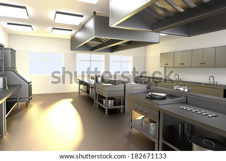 realistic 3d render of kitchen