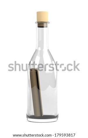 realistic 3d render of message in bottle