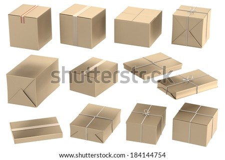 realistic 3d render of packages
