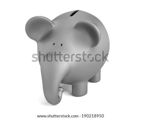 realistic 3d render of piggy bank - elephant - stock photo