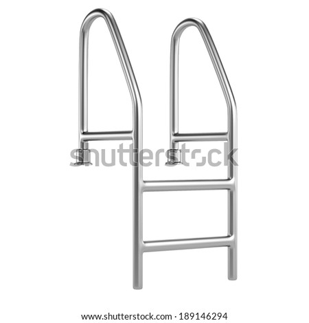 realistic 3d render of pool ladder - stock photo
