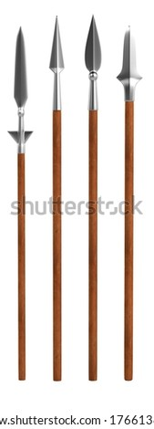 realistic 3d render of spears - stock photo