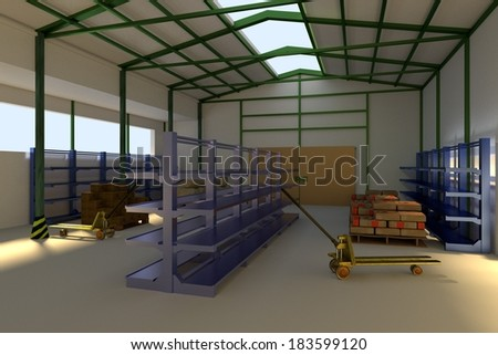 realistic 3d render of warehouse