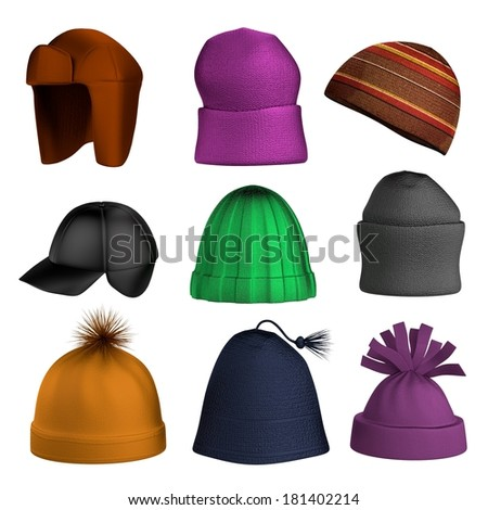 realistic 3d render of winter hats