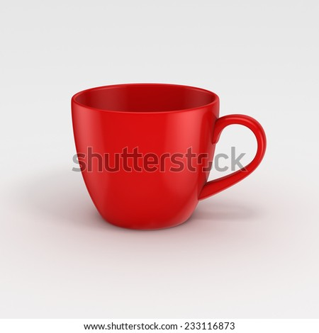Realistic 3d rendered cup isolated on white background.