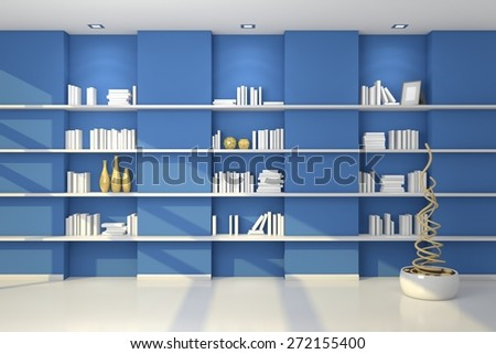 Realistic 3d rendered modern shelves with empty books and decorations. - stock photo