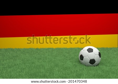 Realistic 3d rendering of a football in front of the flag of Germany..