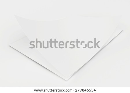 Realistic 3D rendering of blank white sheets paper.
