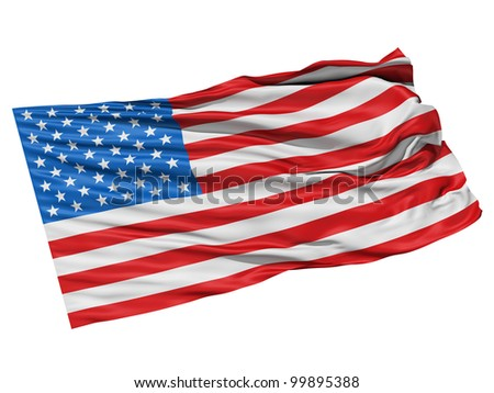 Realistic 3d seamless looping USA(United States) flag waving in the wind. - stock photo
