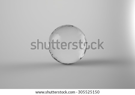 Realistic 3d sphere water drop with shadow on light gray background - stock photo
