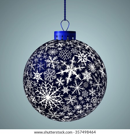 Realistic dark blue Christmas ball. Raster version. - stock photo