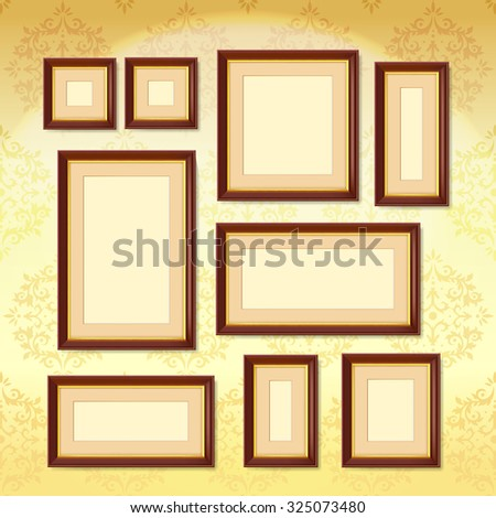realistic dark wood picture frames set on golden wallpaper isolated illustration