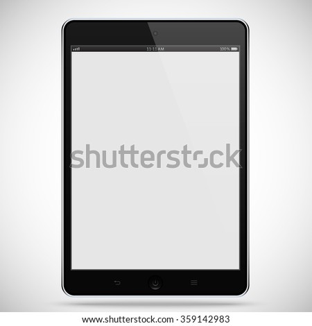 realistic detailed black tablet with touch screen isolated on grey background. stock illustration