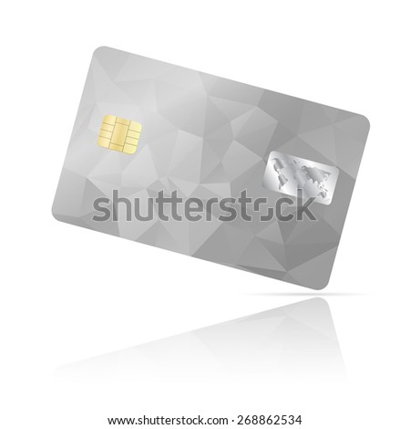 Realistic detailed credit card with geometric triangular silver design isolated on white background - stock photo