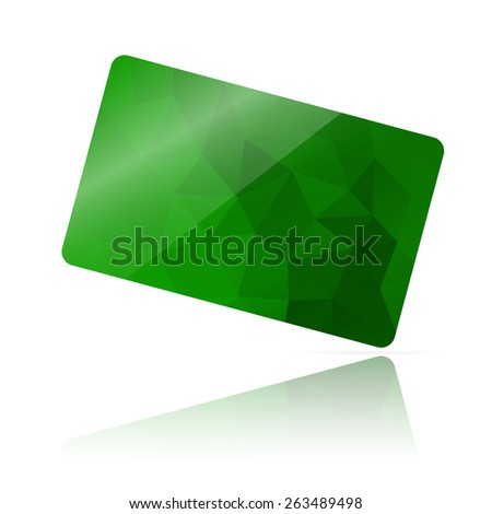 Realistic detailed credit card with green geometric triangular design isolated on white background. - stock photo