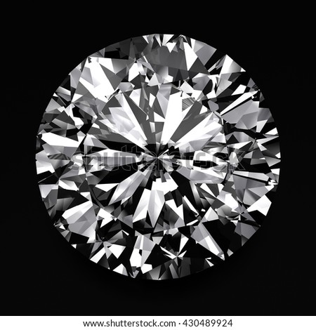 Realistic Diamond in top view Close up , 3d illustration. - stock photo