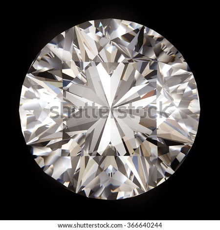Realistic diamond in top view with caustic on white background, 3d illustration. - stock photo