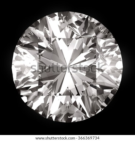 Realistic diamond top view isolated on black background.