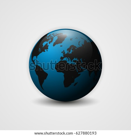 Realistic Earth  illustration. 3d planet icon. World map.