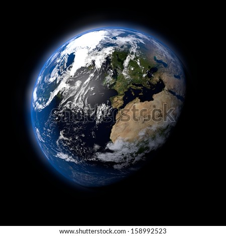 Realistic Earth Planet on Black Space Background
