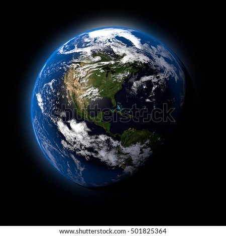 Realistic Earth Planet on Black Space Background 3D Illustration