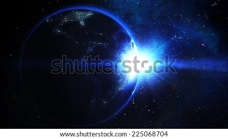 Realistic Earth with Sun - stock photo
