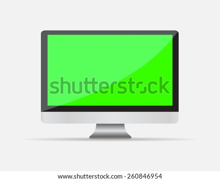 Realistic Empty computer display with green blank screen isolated on white background. illustration  - stock photo