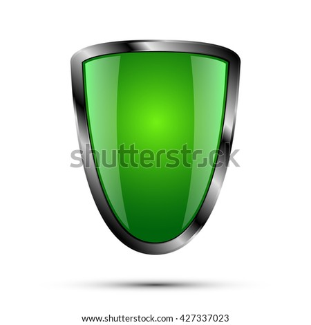 Realistic empty metal shield with shadow, green color