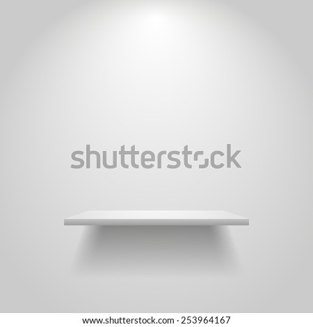 Realistic empty white shelf hanging on a wall. Bookshelf background. Shelf background. Lighted wall. Interior element. Exposition light. Exposition background. Empty shelf background. Copyspace