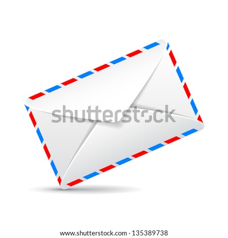 realistic envelope on white background