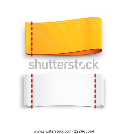 realistic fabric labels with stitching isolated on white background - stock photo