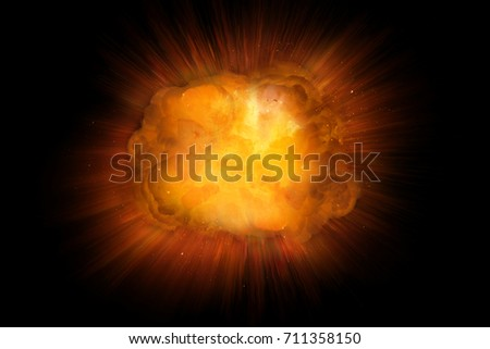 Realistic fire explosion, orange blast with sparks isolated on black background