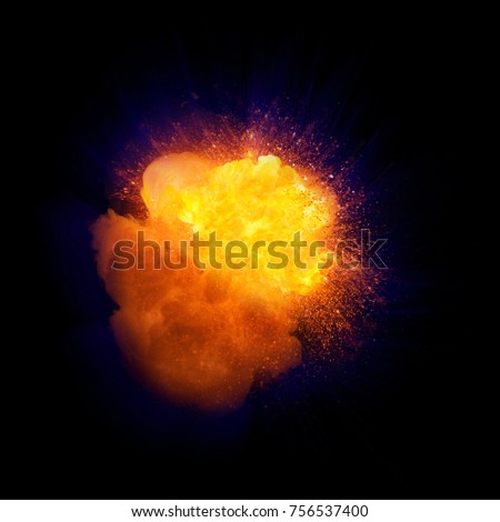 Realistic fire explosion, orange color with blue shell and sparks isolated on black background