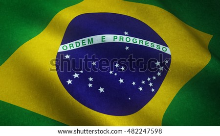 Realistic flag of Brazil  with highly detailed fabric texture.