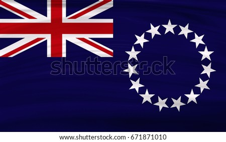 realistic flag of cook islands on the wavy surface of fabric this flag can be - Cook Island Designs