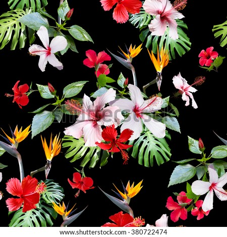 Realistic flowers pattern seamless. CLIP ART - photo collage. Beautiful artistic tropical flowers for floral design.  - stock photo