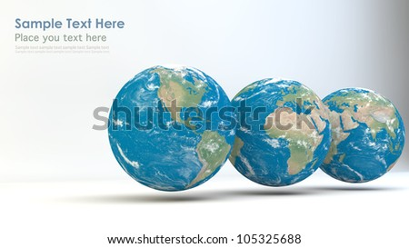 Realistic Globes. Elements of this image furnished by NASA. - stock photo