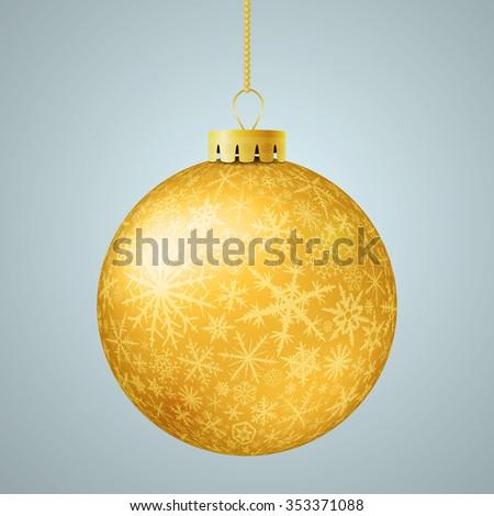 Realistic gold Christmas ball. Raster version. - stock photo