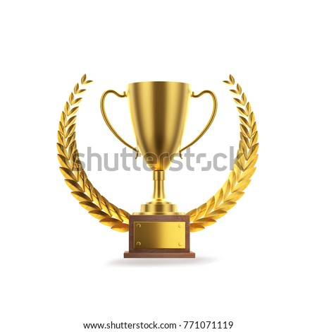 Realistic Golden Trophy Text Space 3d Stock Illustration 771071119